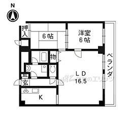 京都市営烏丸線 今出川駅 徒歩10分の賃貸マンション 11階2LDKの間取り