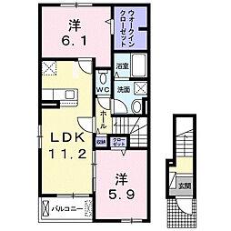 国分寺町アパート 2階2LDKの間取り