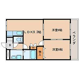 静岡県焼津市利右衛門の賃貸マンションの間取り