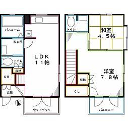 JR中央本線 武蔵小金井駅 徒歩13分の賃貸テラスハウス 2LDKの間取り