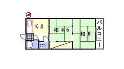 堀留ハイツ[13号室]の間取り