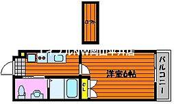 JR山陽本線 西川原駅 徒歩9分の賃貸アパート 3階1Kの間取り