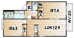 リバーサイド A棟[2階]の間取り