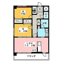 愛知県岡崎市竜美南1丁目の賃貸マンションの間取り