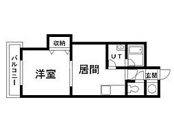 6・2ビル 7階1DKの間取り