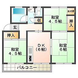明舞第2団地7号棟[5階]の間取り