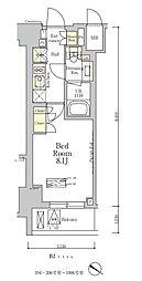 東京メトロ南北線 麻布十番駅 徒歩7分の賃貸マンション 4階1Kの間取り