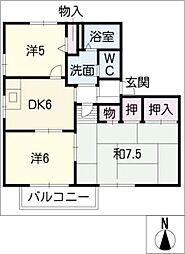 コンコード東大垣[2階]の間取り