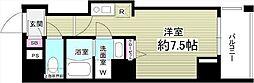 JR京葉線 越中島駅 徒歩16分の賃貸マンション 6階ワンルームの間取り