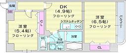 ボヌールK 3階2DKの間取り