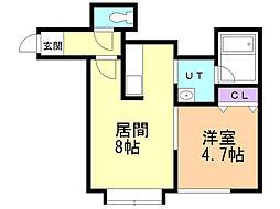 モンテN26 1階1DKの間取り