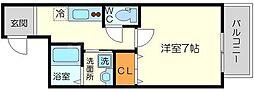 フジパレス柴島II番館 2階1Kの間取り