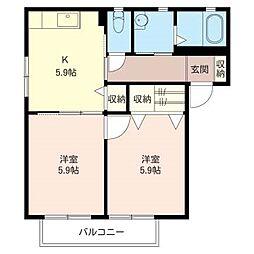レジデンス駒木壱番館[2階]の間取り
