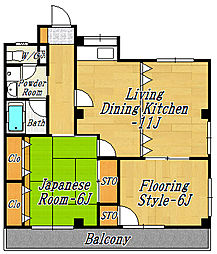 市川ハイム第3[4階]の間取り