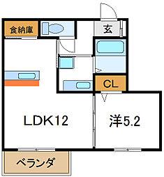Osaka Metro谷町線 大日駅 徒歩9分の賃貸アパート 2階1LDKの間取り