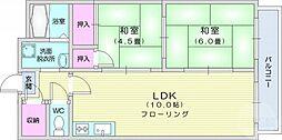 仙台市営南北線 愛宕橋駅 徒歩1分の賃貸マンション 4階2LDKの間取り