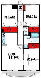 フロレスタ赤間 1階3LDKの間取り