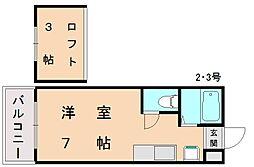 ルート新宮駅前 E棟[2階]の間取り