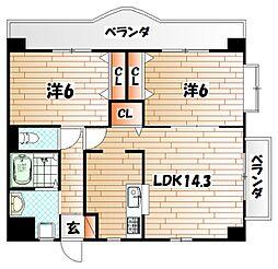 クレール長尾II[4階]の間取り