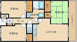ジヤン・ピユール 1番館 2階3DKの間取り