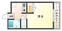 西村マンション 2階1Kの間取り