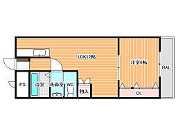 完洋荘[4階]の間取り