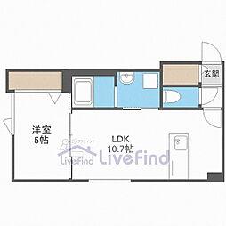 JR函館本線 白石駅 徒歩6分の賃貸アパート 2階1LDKの間取り