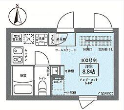 JR山手線 御徒町駅 徒歩10分の賃貸マンション 1階ワンルームの間取り