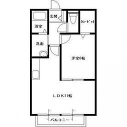 千葉県松戸市六高台5丁目の賃貸アパートの間取り