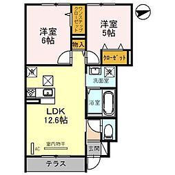 東武野田線 七里駅 徒歩12分の賃貸アパート 1階2LDKの間取り