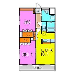 ラ・エレガンス77[2階]の間取り