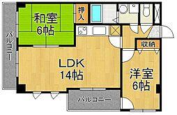 ラディエ南武庫之荘[2階]の間取り