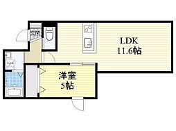 札幌市営東西線 発寒南駅 徒歩17分の賃貸アパート 2階1LDKの間取り