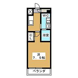 ベルグレードKAMEIDO 3階1Kの間取り