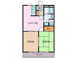 三重県伊勢市小俣町湯田の賃貸アパートの間取り