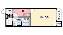 クレイノクリエイト仁川 2階1Kの間取り