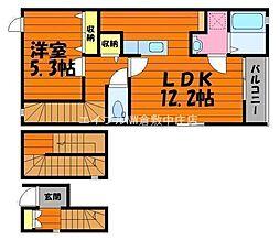 岡山県倉敷市水江丁目なしの賃貸アパートの間取り