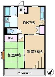 エステート黒坂[3階]の間取り