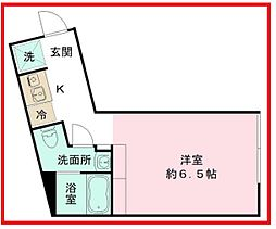 ザ コイシカワ 1階ワンルームの間取り