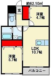 Confort Y 折尾[102号室]の間取り