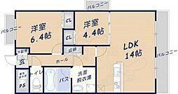 木津ロイヤルメゾン 3階2LDKの間取り