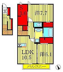 サンヒルズヴィラカインドネス I[2階]の間取り