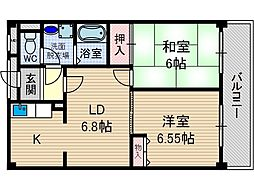 レガセ増井[2階]の間取り