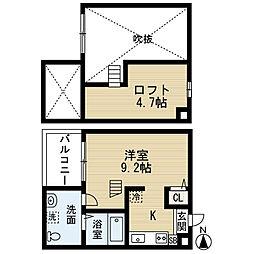 愛知県名古屋市中村区草薙町3丁目の賃貸アパートの間取り