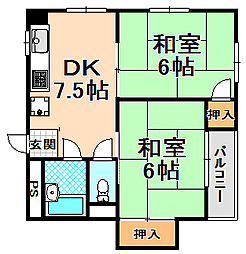 兵庫県伊丹市大鹿6丁目の賃貸マンションの間取り