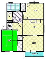 新潟県新発田市新栄町2丁目の賃貸アパートの間取り