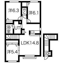 北海道札幌市中央区南五条西14丁目の賃貸アパートの間取り