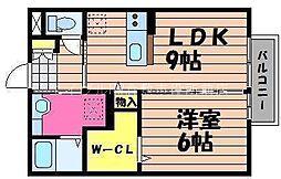 岡山県倉敷市西岡の賃貸アパートの間取り