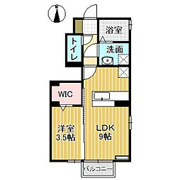 D-roomウィル 1階1LDKの間取り