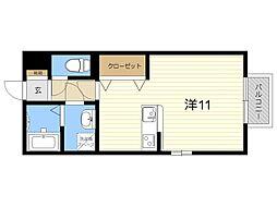 JR日豊本線 国分駅 徒歩21分の賃貸アパート 1階ワンルームの間取り